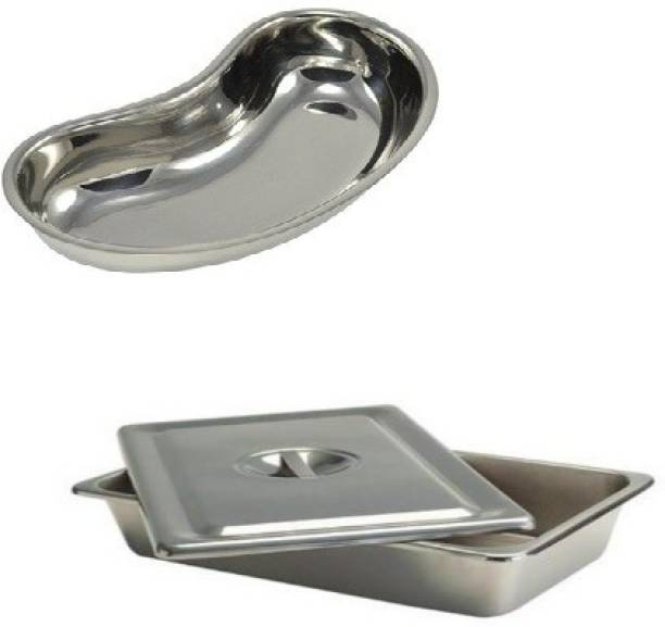 """Agarwals ™ Kidney Tray 10"""" & Instrument Tray 8*6 With Lid(Set Of 2) Reusable Medical Tray"""
