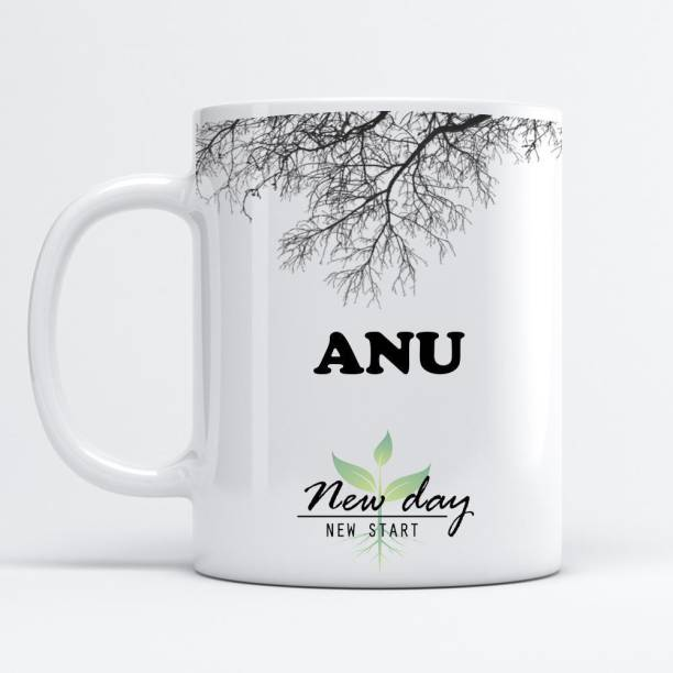 Beautum Anu Printed New Day New Start White Name Model No:NDNS001697 Ceramic Coffee Mug