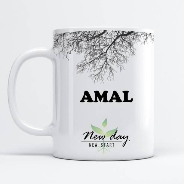 Beautum Amal Printed New Day New Start White Name Model No:NDNS001089 Ceramic Coffee Mug