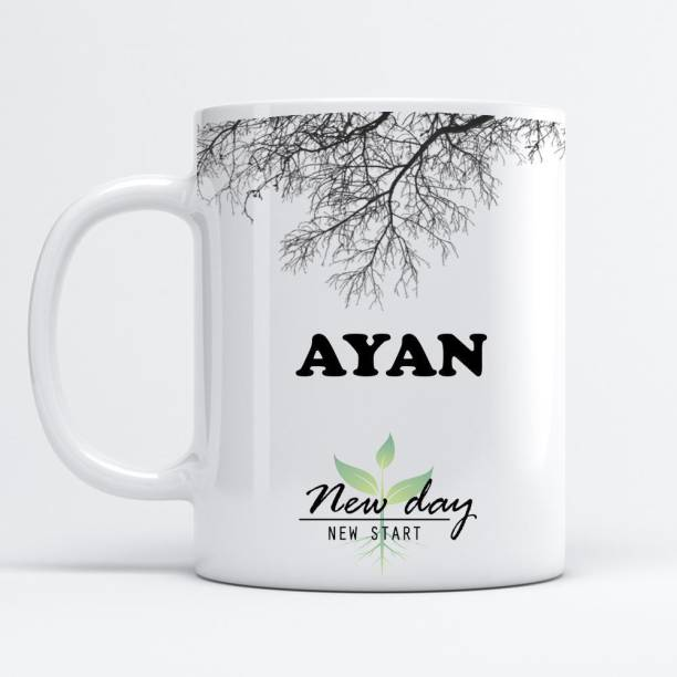 Beautum Ayan Printed New Day New Start White Name Model No:NDNS002624 Ceramic Coffee Mug