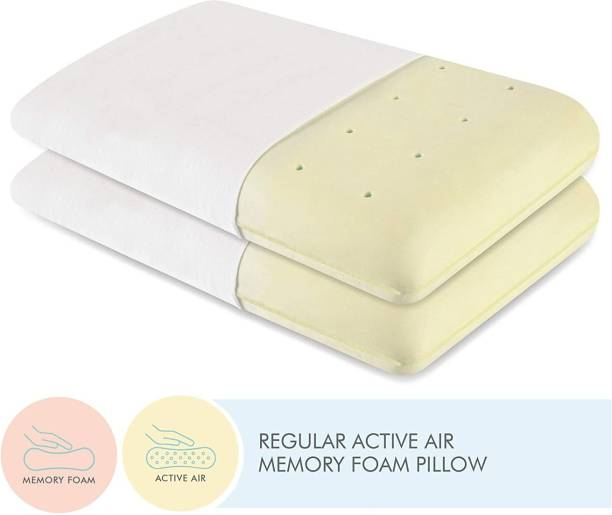 The White Willow King Size Neck and Back Pain Relief Ventilated Active Memory Foam Solid Sleeping Pillow Pack of 2