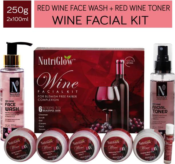 NutriGlow Beauty Combo of 3 Wine Facial Kit (250gm) Red Wine Face Wash (100ml) Red Wine Facial Toner(100ml)For Face Skin care Glowing Skin Deep Cleansing