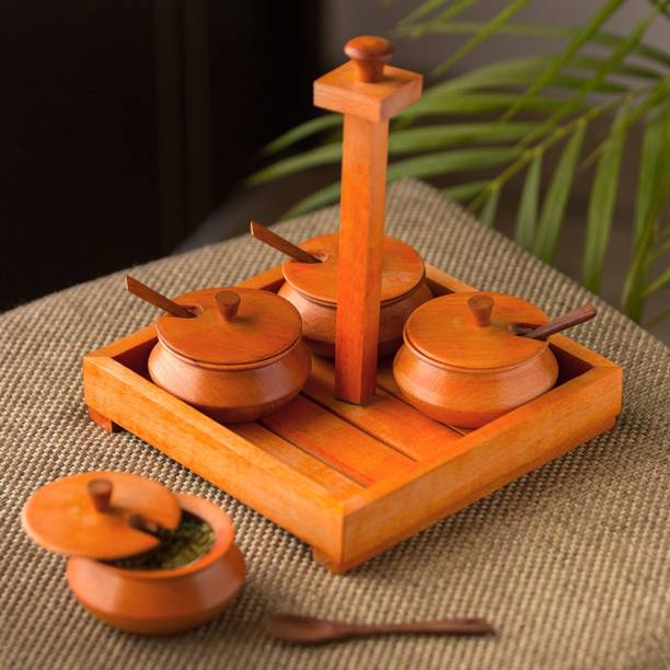 ExclusiveLane Refreshement Jars Set With Tray & Spoons In Wood (Orange) 1 Piece Spice Set