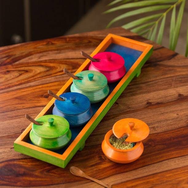 ExclusiveLane Refreshement Jars Set With Tray & Spoons In Wood (Multicoloured) 1 Piece Spice Set