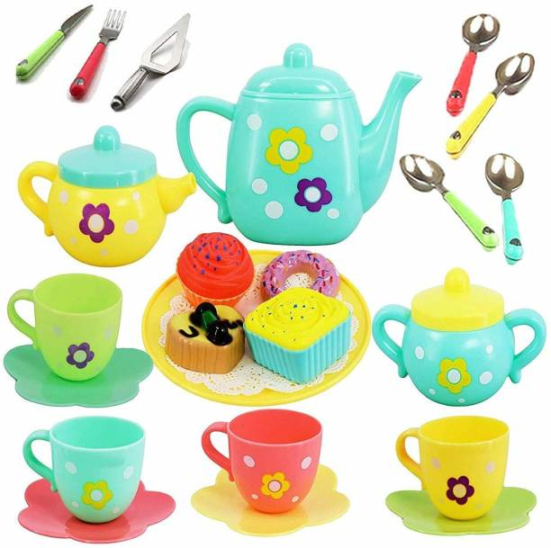 TechHark pack of 25pcs Tea Party Teapot Pretend Playset Kitchen Toy for Boys and Girls of 3 Years Old