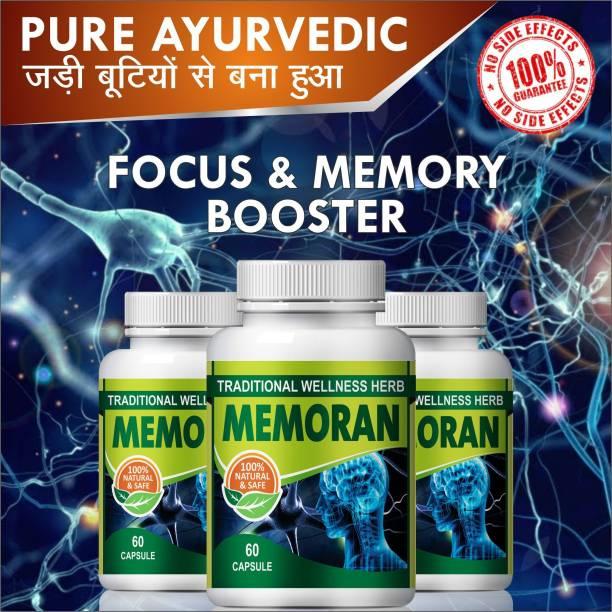 Natural Memoran|brain tonic capsules|500mg 60 capsules|pack of 3