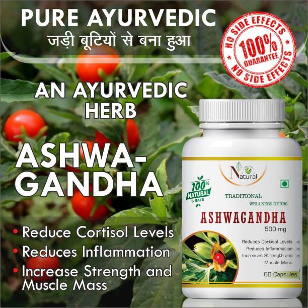 Natural Ashwagandha Herbal capsules For Help to reduce anxiety and stress 100% Ayurvedic