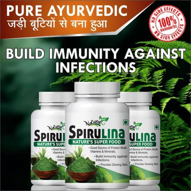 Natural Spirulina Herbal Capsules For Lower Blood sugar levels and Cholesterol 100% Ayurvedic (180 Capsules)