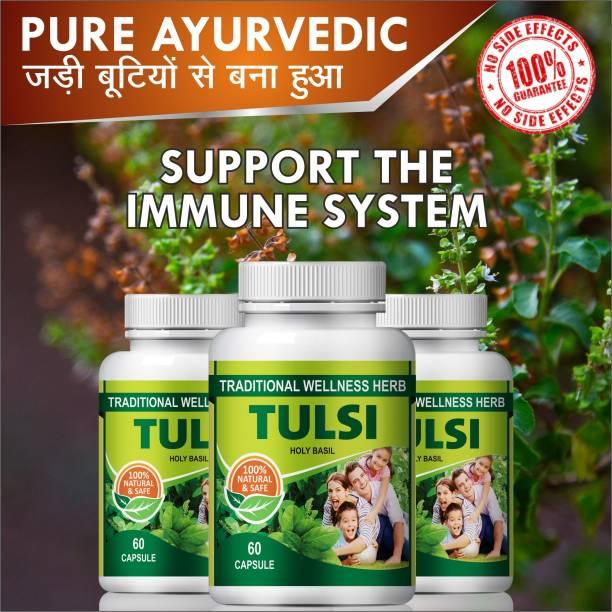 Natural Tulsi For Anti-Bacterial And Anti Viral Action Capsules 100% Ayurvedic