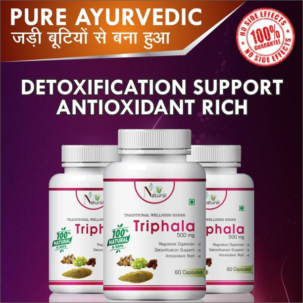 Natural Triphala For Antioxidant Rich Capsules Pack of 3