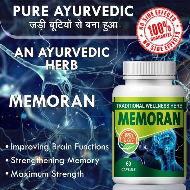 Natural Memoran Herbal Capsules For Boost your Brain Power 100% Ayurvedic