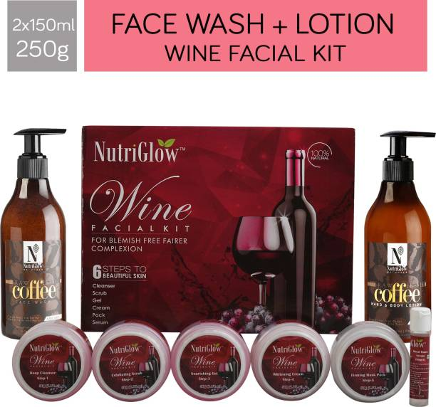NutriGlow Beauty Combo of Wine Facial Kit (250 gm),Coffee Face Wash (150 ml) and Coffee Body Lotion (150 ml) For Skin Care/Deep Skin Moisturization/ Exfoliation/Natural Beauty