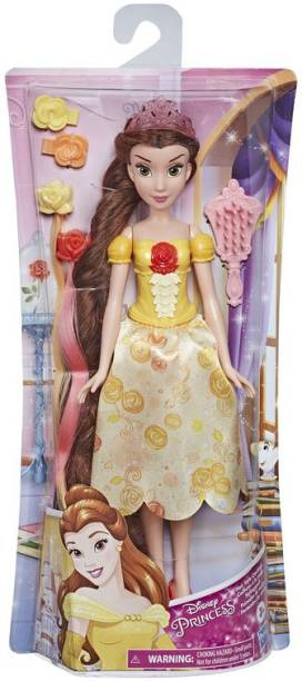 DISNEY PRINCESS Hair Style Creations Belle Fashion Doll, Hair Styling Play Toy with Brush,Hair Clips,Hair Extensions