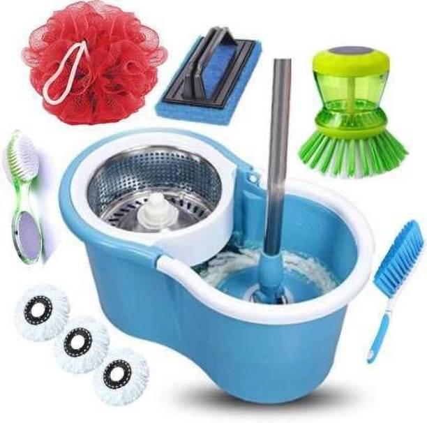 GTE Magic Spin Mop Bucket Floor Cleaning & Steel Wringer Spin Mop With 3 Microfibers Heads, Pedi Cleaner, Tile brush, Liquid brush, Lofa, Carpet brush Mop Set