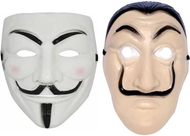 Stardom style White Vendetta & Money Heist Character Party Mask