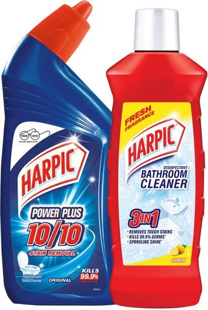 Harpic 500 ml Lemon Bathroom Cleaner & 500 ml Power Plus Regular Liquid Toilet Cleaner