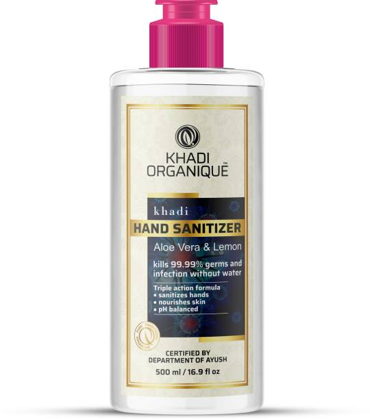 khadi ORGANIQUE  kills 99.99% germs and infection without water with triple action formula sanitizes hands, pH balanced, nourishes skin Hand Sanitizer Bottle