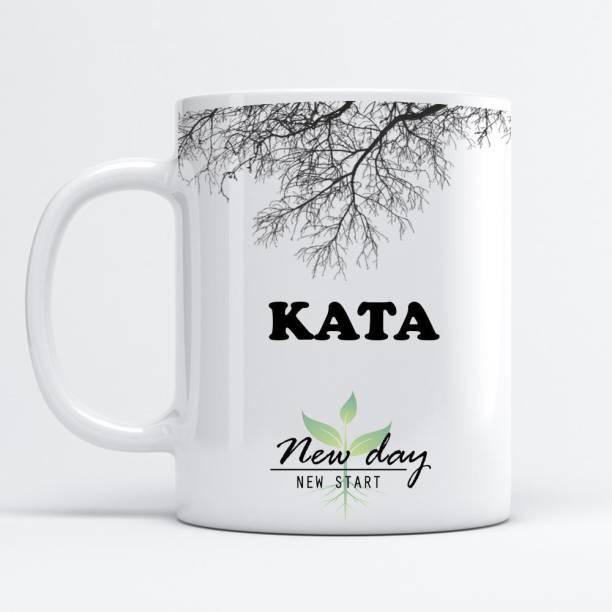 Beautum Kata Printed New Day New Start White Name Model No:NDNS009227 Ceramic Coffee Mug