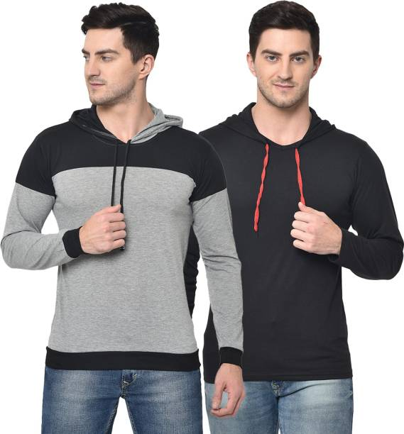 3SIX5 Solid Men Hooded Neck Multicolor T-Shirt