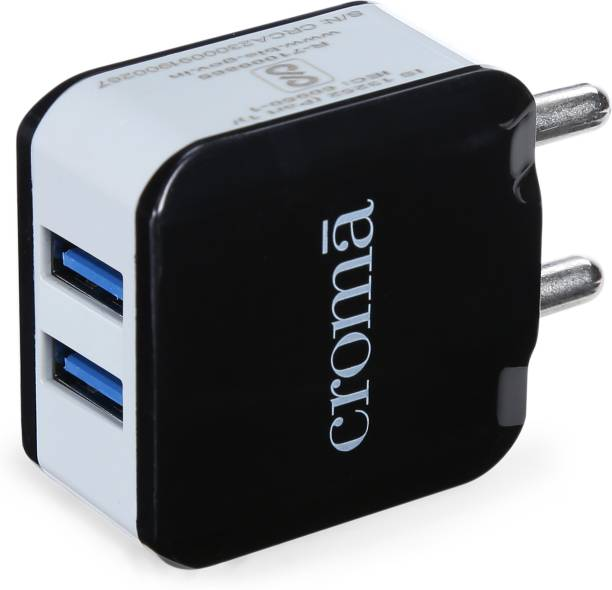 Croma 2 USB Port Adapter CRCA2302 2.4 A Multiport Mobile Charger with Detachable Cable
