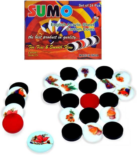 STC Sumo 6MM Printed Carrom Coins and Printed Striker Set ( Pack of 25 ) (Solid) Carrom Pawns