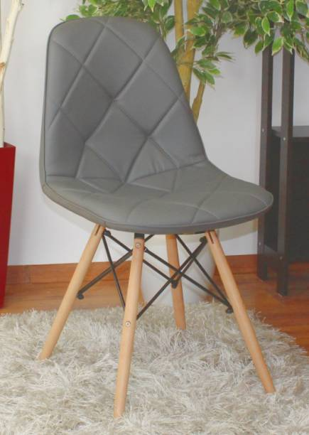 Finch Fox Eames Replica Wooden Cushioned Dining Chair / Cafeteria Chair / Side Chair (Grey) Leatherette Living Room Chair
