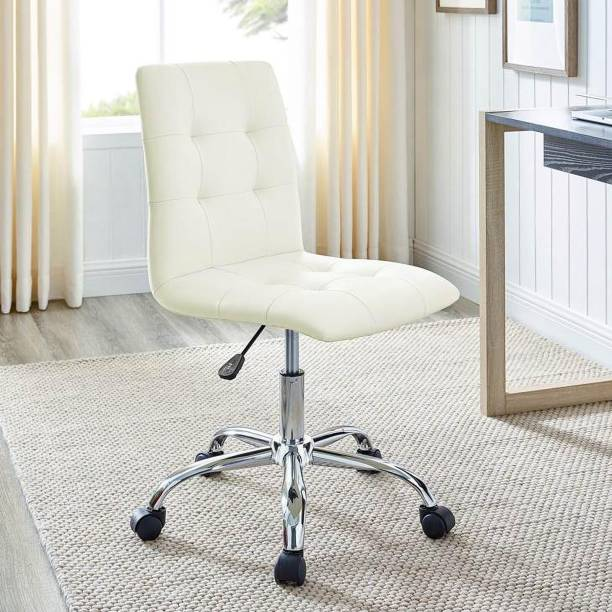 Finch Fox Ripple Ribbed Armless Low Back Swivel Adjustable Computer Desk Office Chair In (White) Leatherette Office Executive Chair