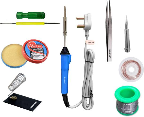 FADMAN Basic Complete Part Type-8 Soldering Iron Kit | Solder Wire | Soldering Paste Flux | Soldering Iron Stand | Tweezer | Desoldering Wick | Soldering Bit | 2 IN 1 Screw Driver | Soldering iron 25 W Simple