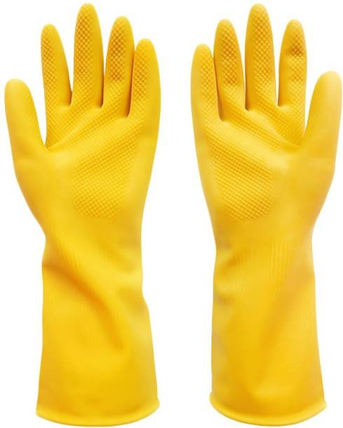 Orcoa Resuable and Washing Latex Rubber Hand Long Sleeve Gloves for Dishwashing and Other Household Cleaning Work (Yellow Colour) (Pair of 1) Wet and Dry Glove