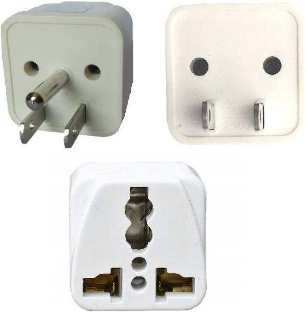 wroughton AX_502 Pack of 2 Universal Traveller Conversion Plug 3 Pin and 2 Pin Socket Worldwide Adapter, Convert UK/US/EU/AU Power Adaptor 10 Amp Three Pin Plug