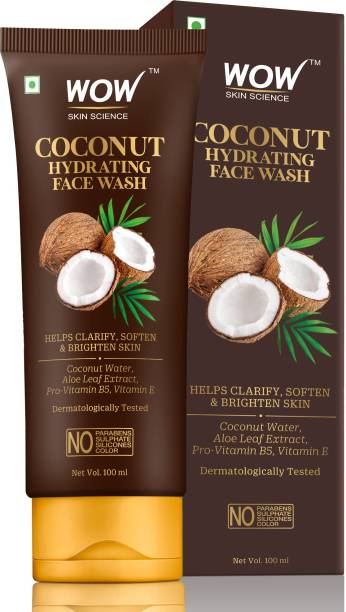 WOW SKIN SCIENCE Coconut Hydrating  with Coconut Water, Aloe Leaf Extract - For Clarifying, Softening & Brightening Skin - For Dry/Normal Skin - No Parabens, Sulphate, Silicones & Color - 100mL Face Wash