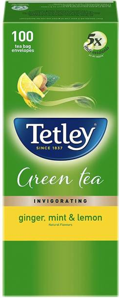tetley Ginger Mint And Lemon Flavour Green Tea 100 Tea Bags Lemon, Ginger, Mint Green Tea Bags Box