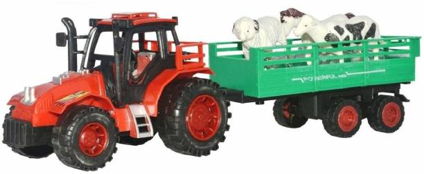 AR KIDS TOYS Farm Animal Tractor with Trolley for Kids