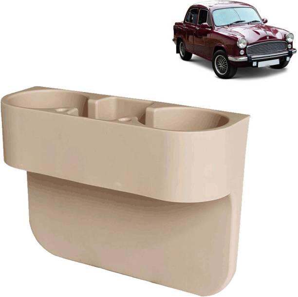 aksmit Car Seat Gap Drink / Storage Organizer Holder Beige For Ambassador_CDH445 Car Bottle Holder