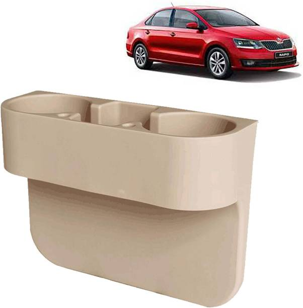 aksmit Car Seat Gap Drink / Storage Organizer Holder Beige For Rapid_CDH557 Car Bottle Holder