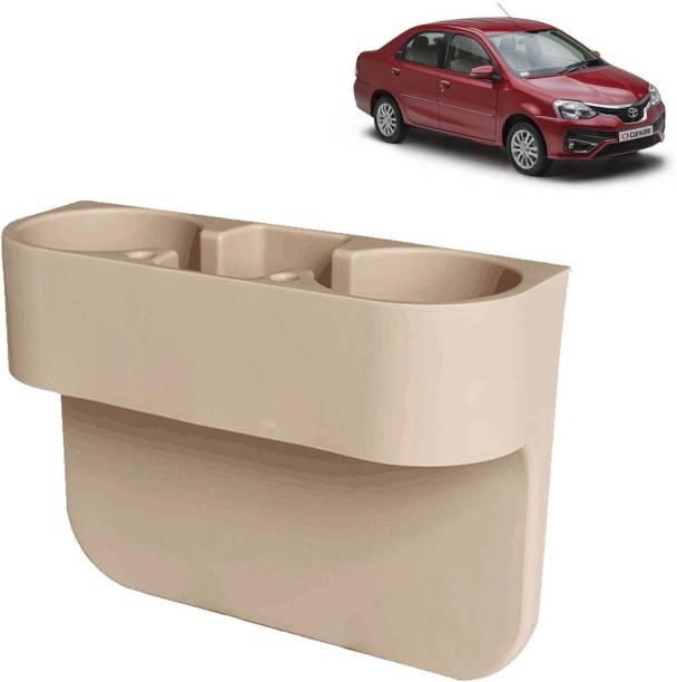 aksmit Car Seat Gap Drink / Storage Organizer Holder Beige For Etios_CDH587 Car Bottle Holder