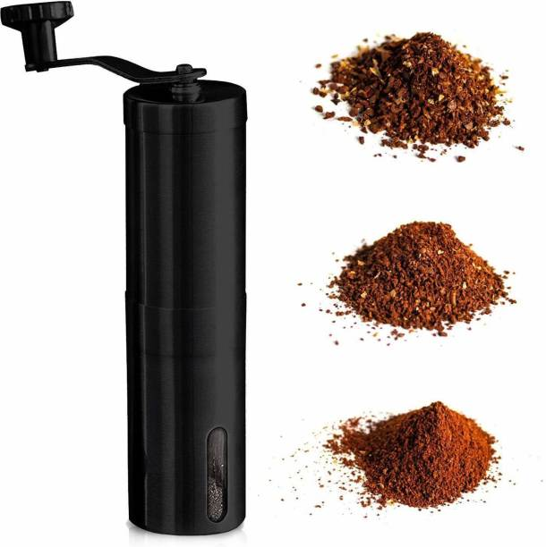 INSTACUPPA Manual Coffee Grinder with Adjustable Setting - Conical Burr Mill & Brushed Stainless Steel - Burr Coffee Grinder for Aeropress, Drip Coffee, Espresso, French Press, 6 Cups Coffee Maker