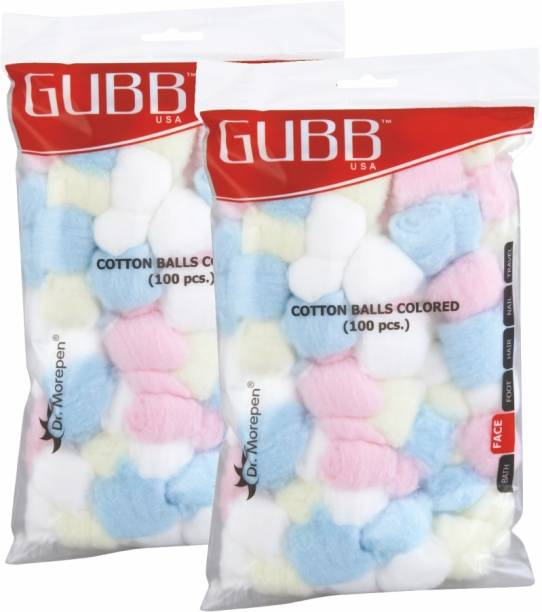 GUBB USA Cotton Balls Colored 100 Pieces Pack of 2 (100 x 2) For Makeup & Face Cleansing