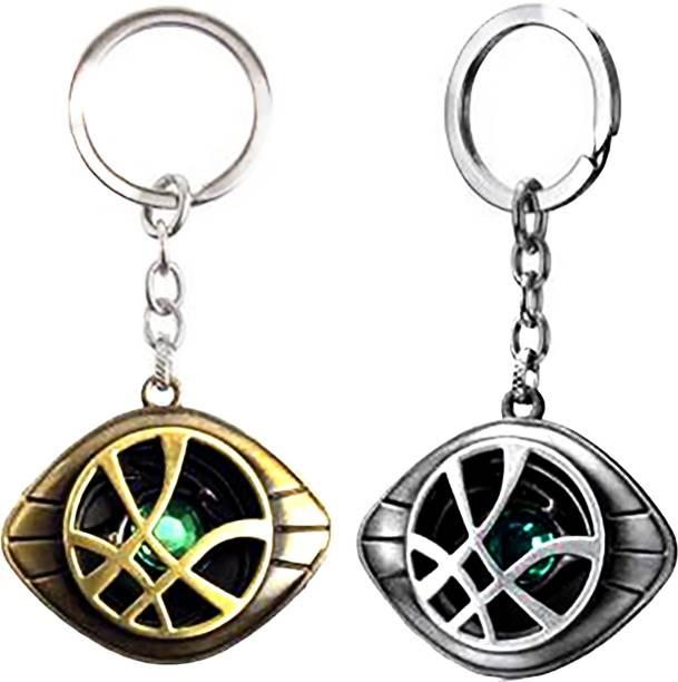 MASHKI Dr. Strange Eye Keychain Combo with Time Stone Marvel Avengers Eye of Agamotto Key Ring for Bag & Bike (Gold & Silver) Key Chain