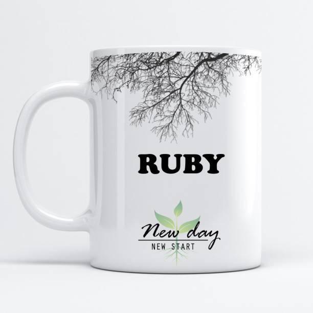 Beautum Ruby Printed New Day New Start White Name Model No:NDNS018020 Ceramic Coffee Mug