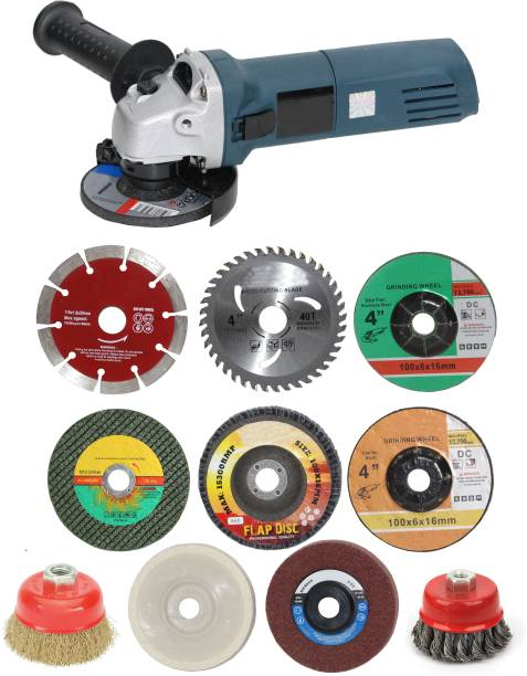 """Digital Craft 670W Angle Grinder Grinding machine Electric Angle Power Tools For woodworking Electric Cutting Tool Polishing Machine With 4"""" 8Pc Combo Wheel, 2Pc 3"""" Inch Cup Brush Twisted & Non Twisted Angle Grinder"""