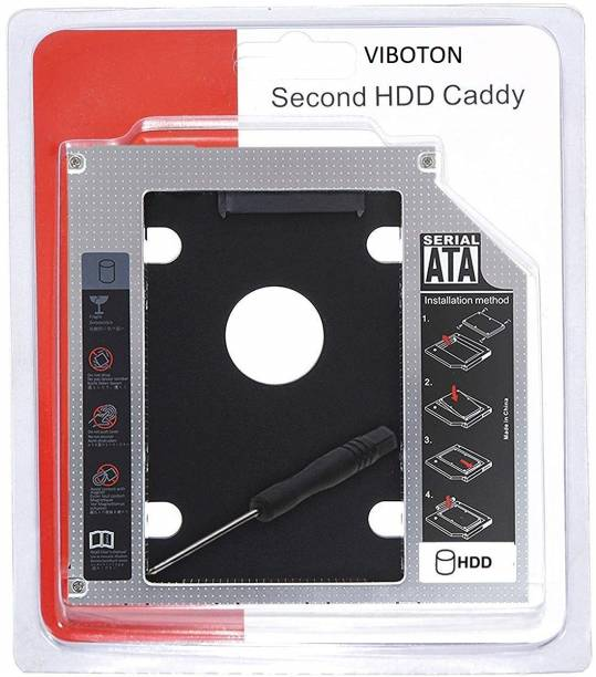 VIBOTON 2nd Hard Drive Caddy Adapter Tray Enclosures, Universal for 9.5mm CD/DVD Drive Slot (for SSD and HDD) Support 2.5 inch Optical Bay 2nd Hard Drive Caddy 9.5mm