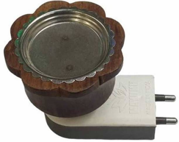 iWin Classy Electric Wooden Kapoor dani cum Aroma Oil Diffuser For Fragrance And Ambience|Direct Plug-In Incense Burner/Kapoor Dani (Brown) Plastic, Wooden, Steel Incense Holder