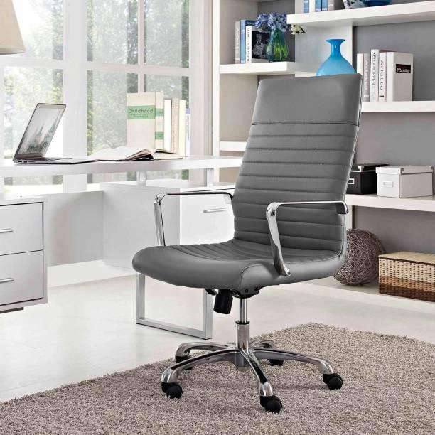 Finch Fox High Back PU Leatherette Executive/House Chair/Desk Chair/Employee/Home Chair/Doctors/Office Chair in (Grey) Color Leatherette Office Arm Chair