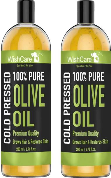 WishCare Cold Pressed Olive Oil - 100% Pure & Hexane Free - Pack of 2 (200ML Each)