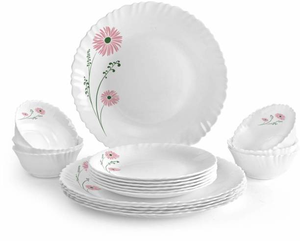 cello Pack of 14 Opalware Pink Lilac Dinner Set