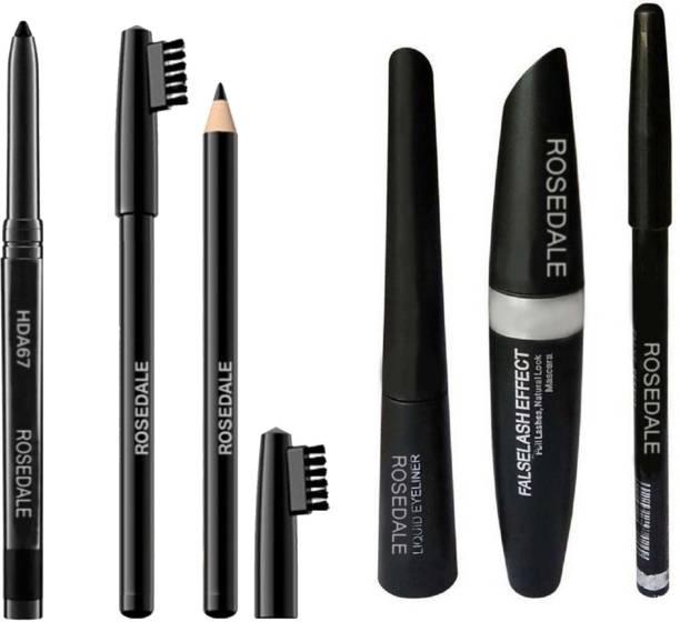 ROSEDALE Smudge Proof HDA67 Makeup Beauty Kajal & High Quality Black Eyebrow Brush Pencil & 3in1 Eyeliner , Mascara , Eyebrow Pencil