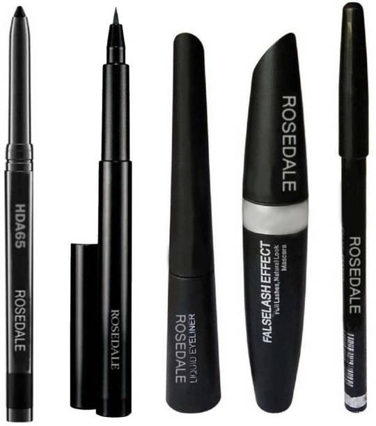 ROSEDALE Smudge Proof HDA65 Makeup Kajal & High Quality Colossal Instan Drama Pen Liquid Black Eyeliner & 3in1 Beauty Eyeliner , Mascara , Eyebrow Pencil