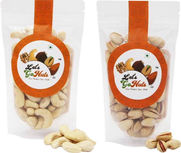 Let's GoNuts Whole Cashew Nuts (Kaju)/Pistachios Roasted & Lightly Salted (Pista Nut) Snacks Combo
