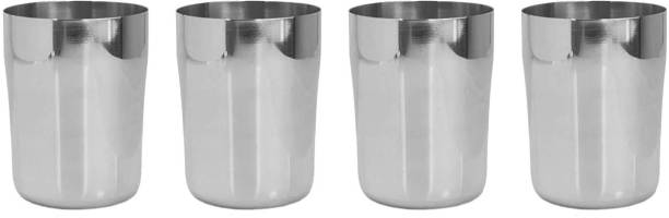 bhalaria (Pack of 4) 340ml Stainless Steel Juice Tumbler Set of 4 Glass Set